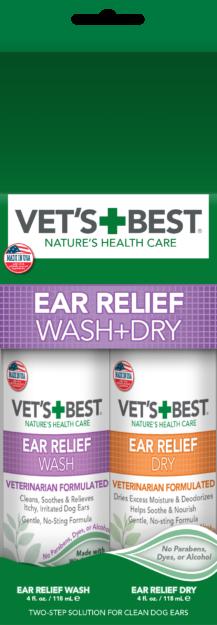 Vet's Best Ear Relief Wash & Dry Combo Kit