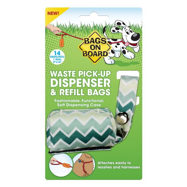 Bags on Board Fabric Dispenser - Chevron Green
