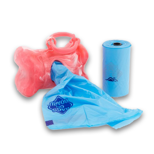 Bags on Board Pink Marble Bone Dispenser