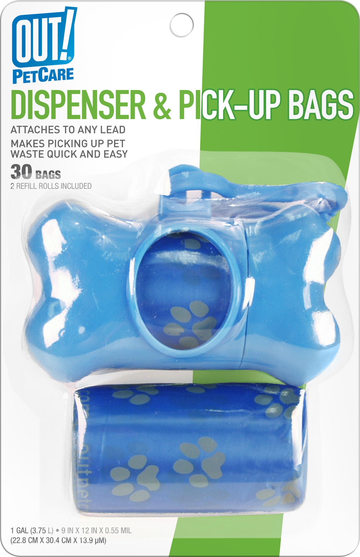 Out Petcare Blue Bone Dispenser with 30 Waste Pick-Up Bags