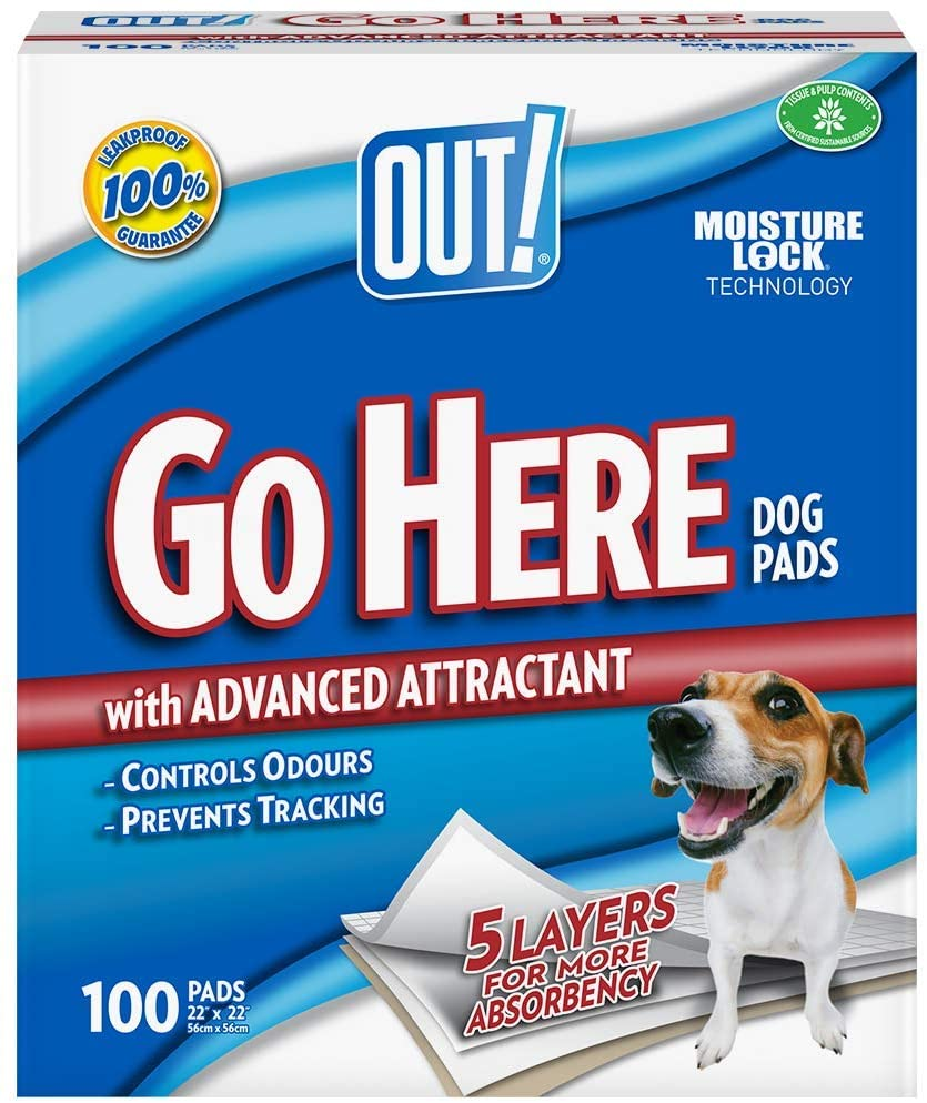 Out Petcare Moisture Lock Training Pads - 100 Pad Pack